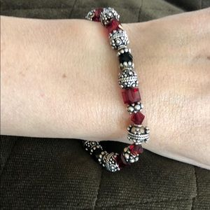 Jewelry - New genuine sterling silver & red crystal bracelet